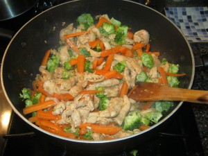 Cooking chicken and veggies