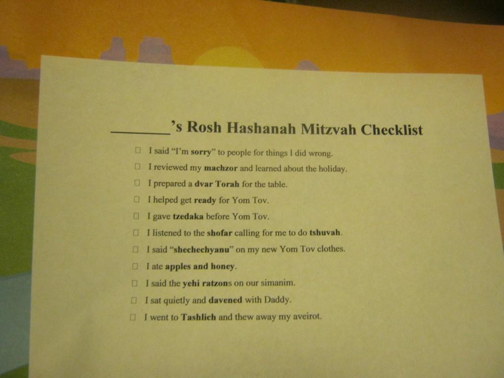 RH mitzvah checklist kids